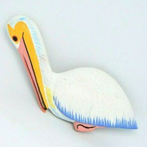 COLLECTIF Pelican Pastel Wooden Hand Painted Pin